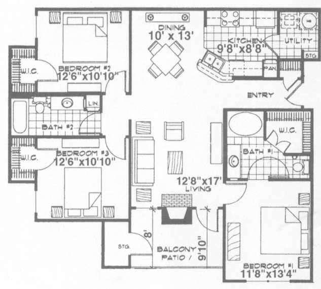 1,234 sq. ft. Nottingham floor plan