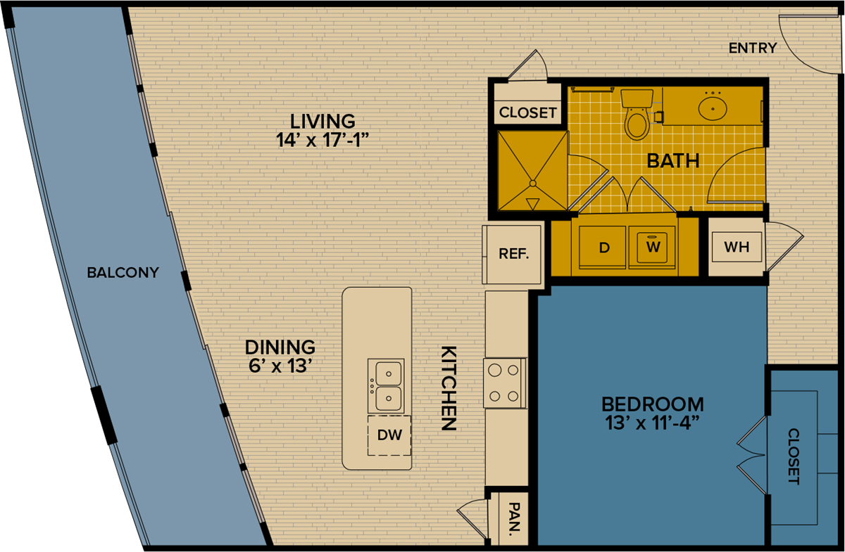 930 sq. ft. A13 floor plan