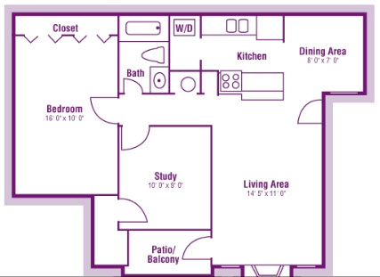 825 sq. ft. A3 floor plan