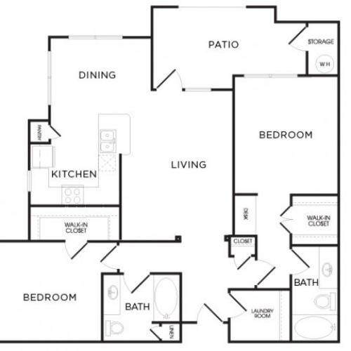 1,181 sq. ft. B5 floor plan