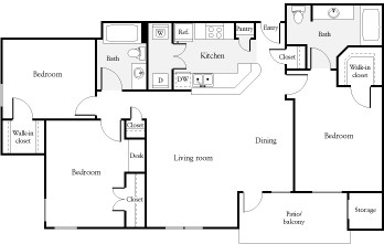 1,160 sq. ft. C2 floor plan