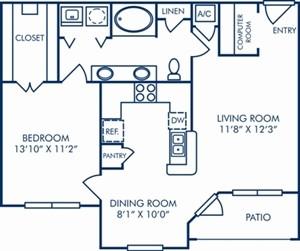 823 sq. ft. A4 floor plan