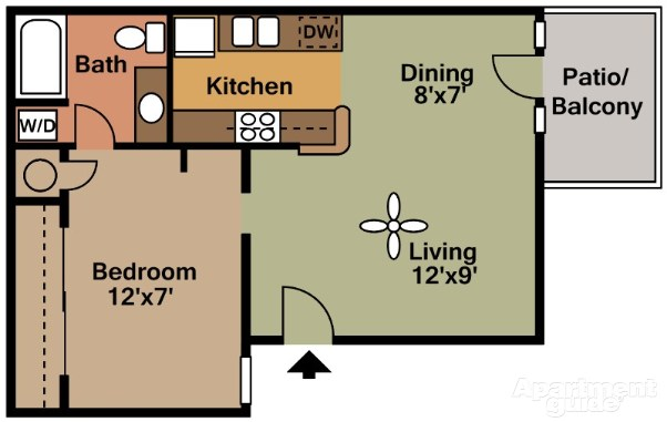 505 sq. ft. A4 floor plan