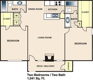 1,041 sq. ft. B2 floor plan