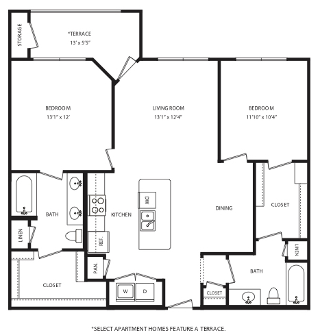 1,089 sq. ft. B5 floor plan