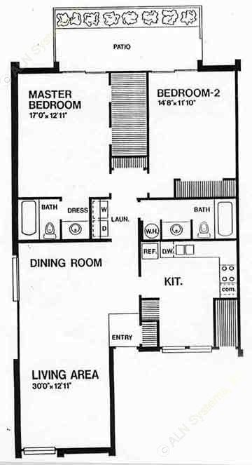 1,274 sq. ft. C floor plan