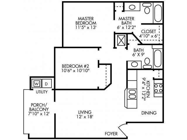 932 sq. ft. B2 floor plan
