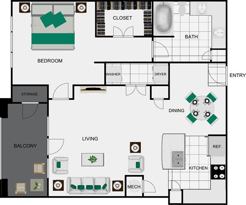 917 sq. ft. A7 floor plan