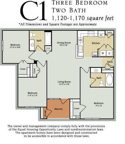 1,120 sq. ft. to 1,170 sq. ft. C1 60% floor plan