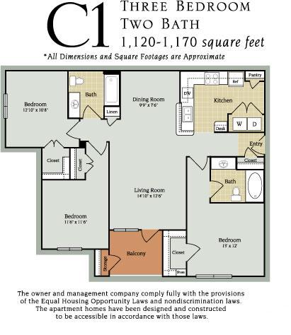 1,120 sq. ft. C1 60% floor plan