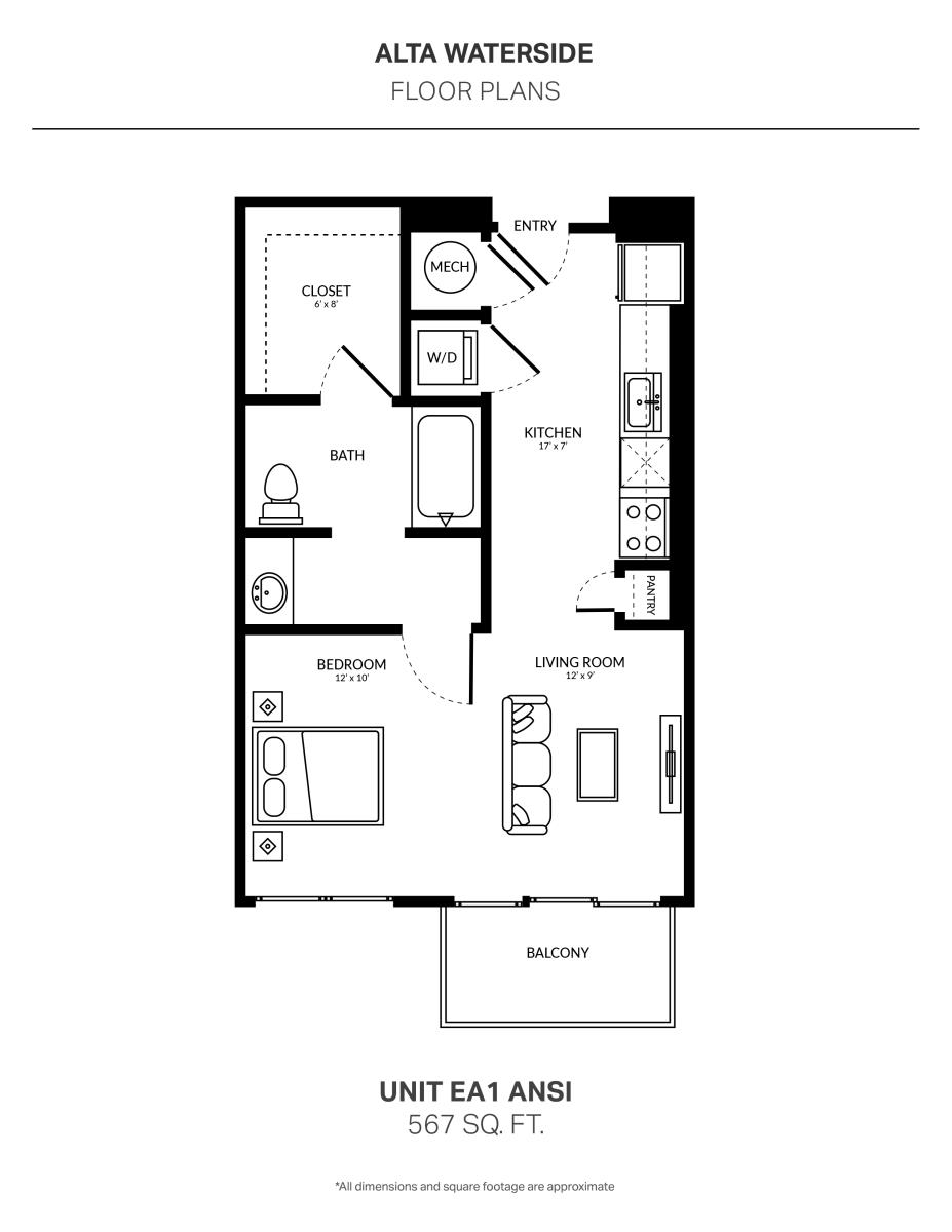 567 sq. ft. EA1 Ansi floor plan