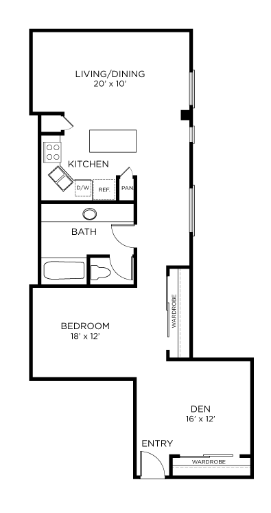 1,132 sq. ft. A13 floor plan