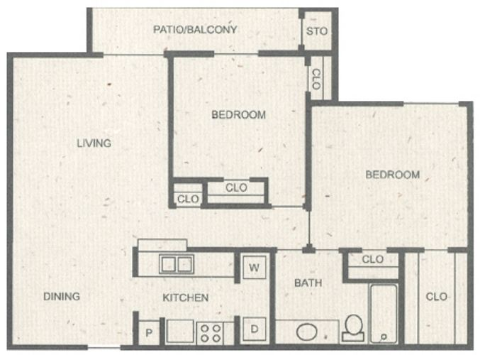 980 sq. ft. E floor plan