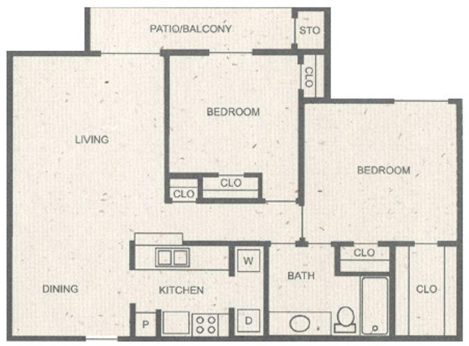 980 sq. ft. E floor plan