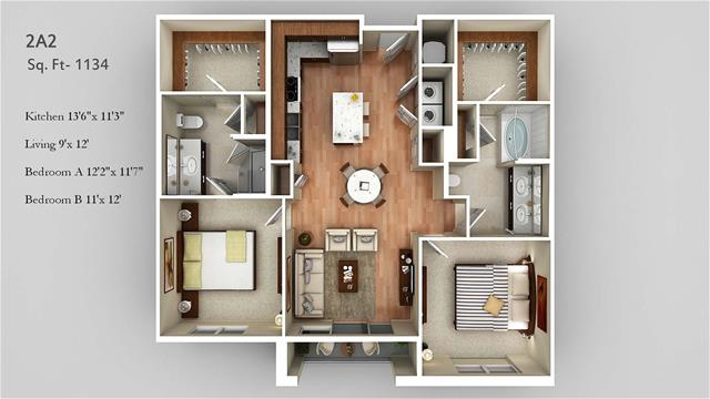 1,134 sq. ft. 2A2 floor plan
