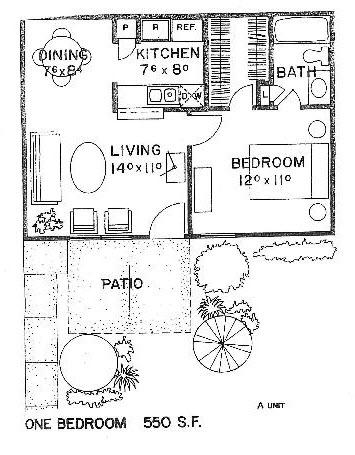 550 sq. ft. A floor plan