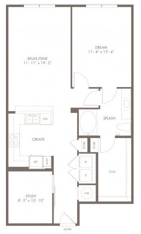 998 sq. ft. A2s floor plan