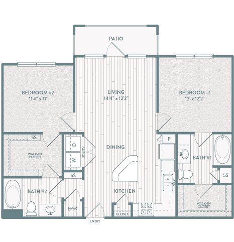 998 sq. ft. B2 floor plan