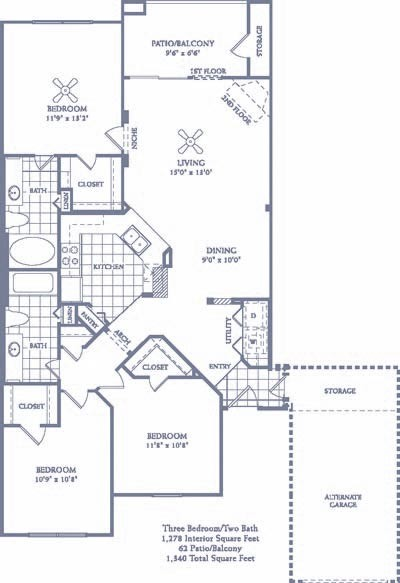 1,278 sq. ft. C1 G floor plan
