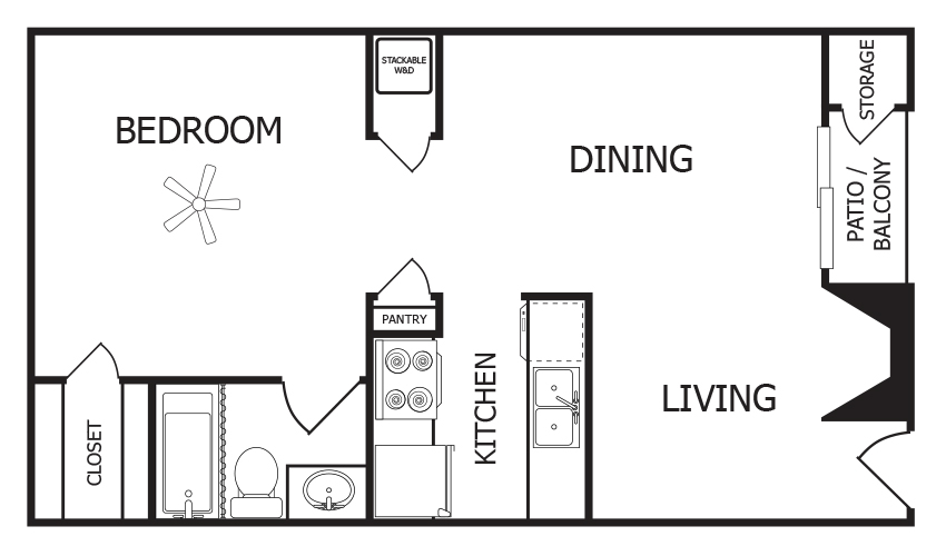 576 sq. ft. A2 floor plan