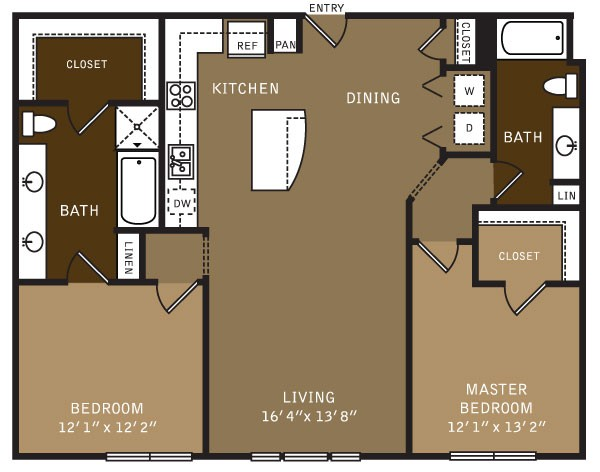 1,288 sq. ft. B1ALT (I) floor plan