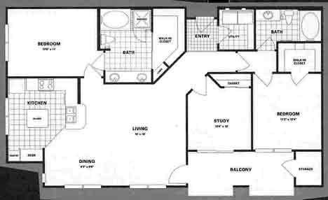 1,372 sq. ft. C1 floor plan