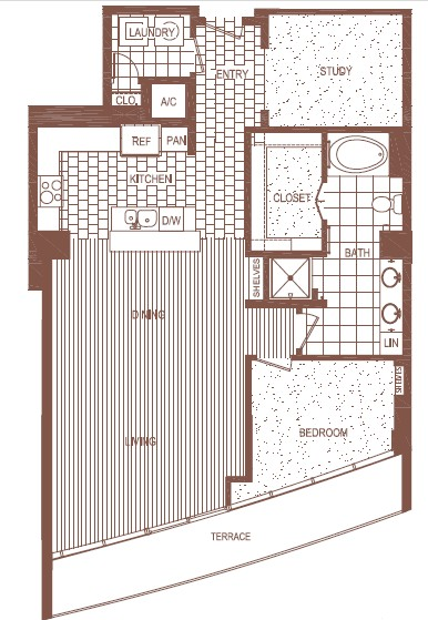 1,283 sq. ft. PH 5 floor plan