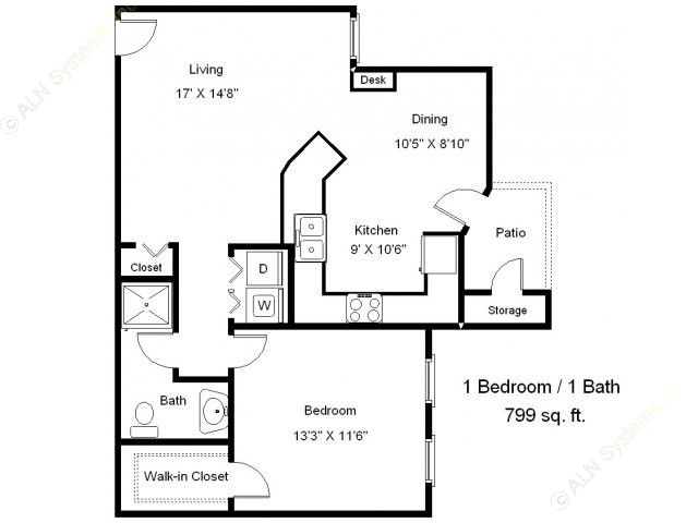 799 sq. ft. A2-60 floor plan