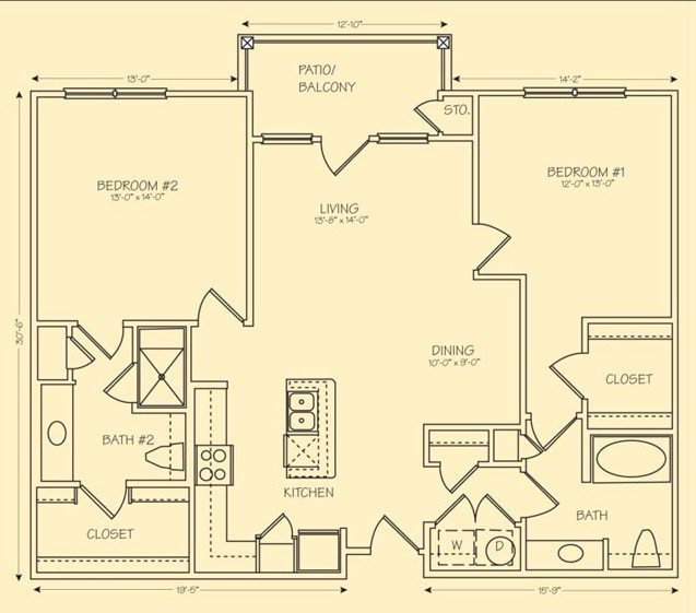 1,180 sq. ft. B2 floor plan