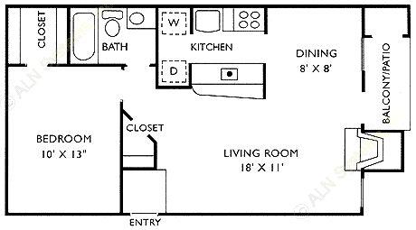 608 sq. ft. A floor plan