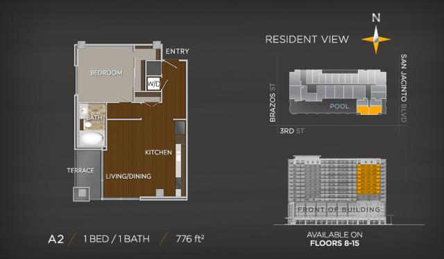 776 sq. ft. A2a floor plan
