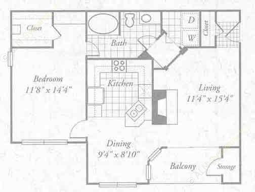 838 sq. ft. A3 floor plan