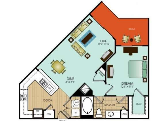780 sq. ft. A10 floor plan