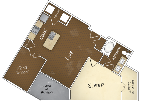 859 sq. ft. A6 floor plan