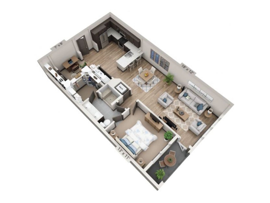 972 sq. ft. San Marcos floor plan
