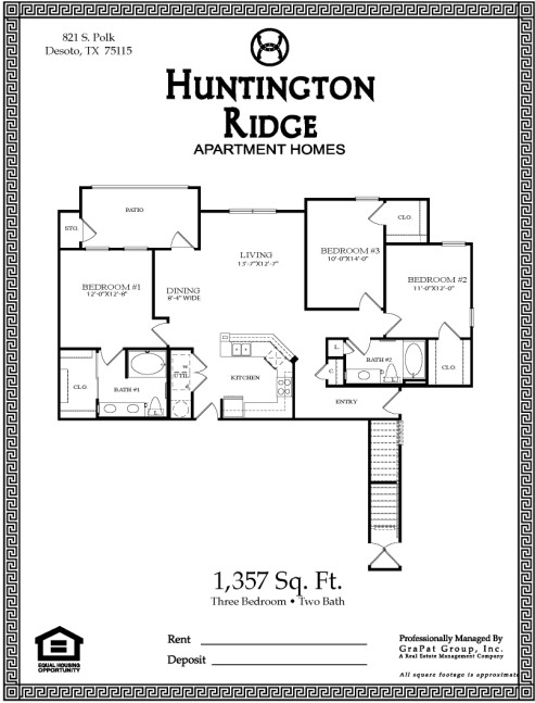 1,357 sq. ft. C1 floor plan