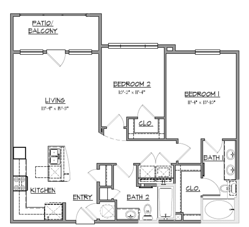 1,048 sq. ft. B1 floor plan