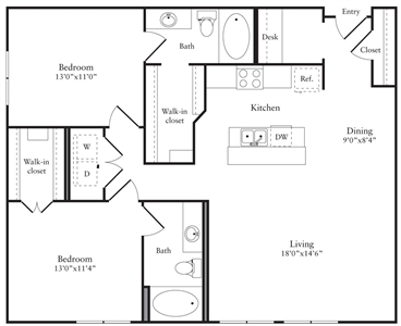 1,188 sq. ft. Q floor plan
