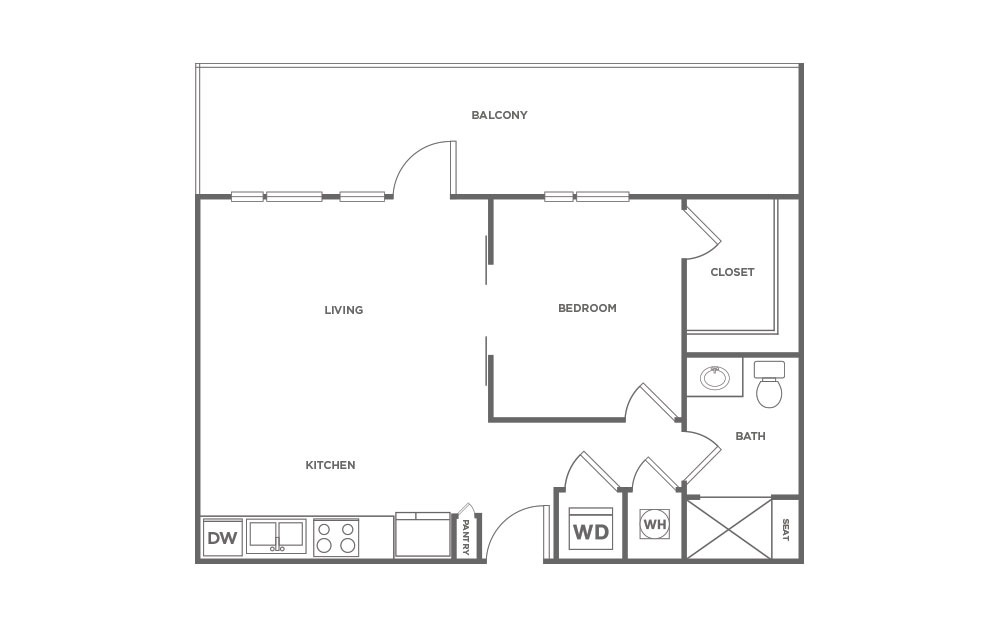 714 sq. ft. S1.2 floor plan