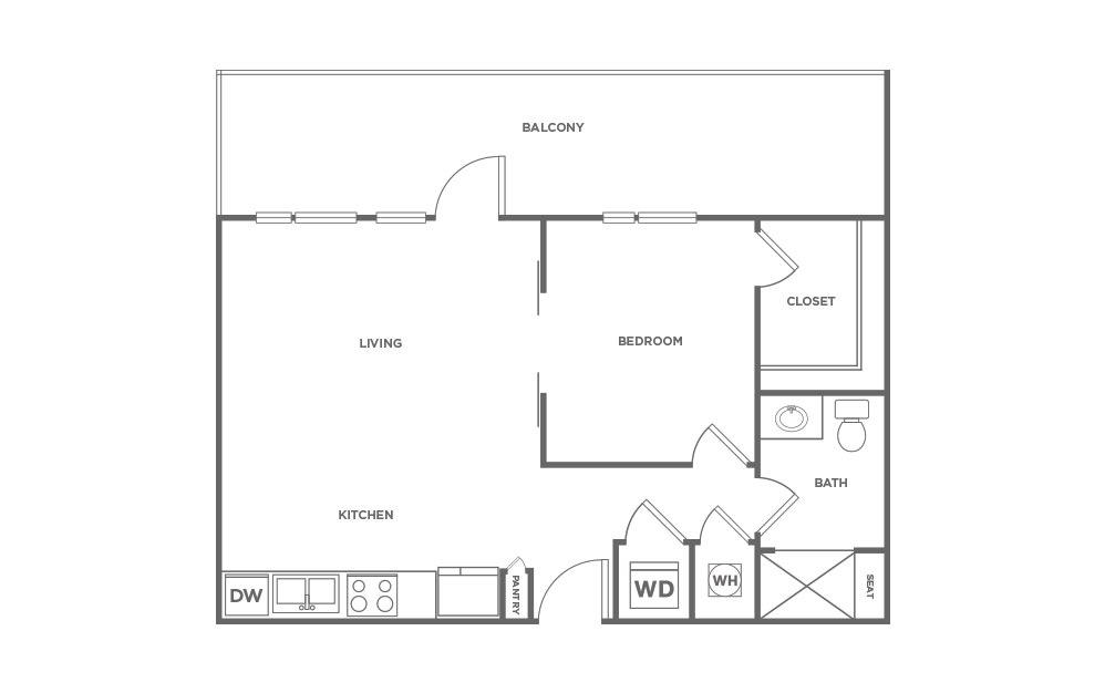 714 sq. ft. S1.2 floor plan
