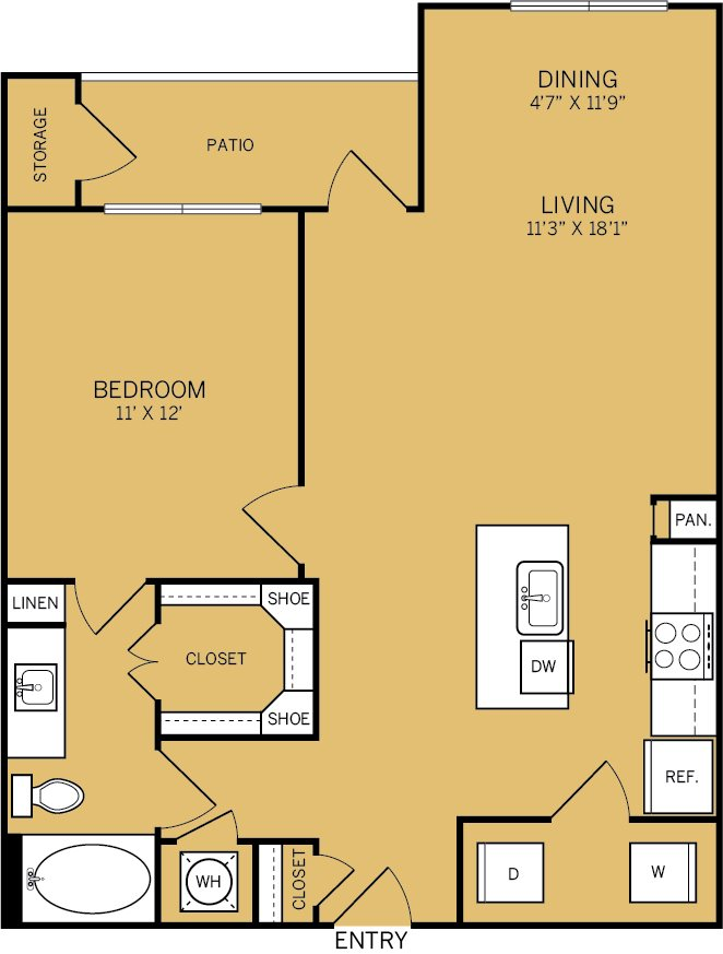 868 sq. ft. A4A floor plan
