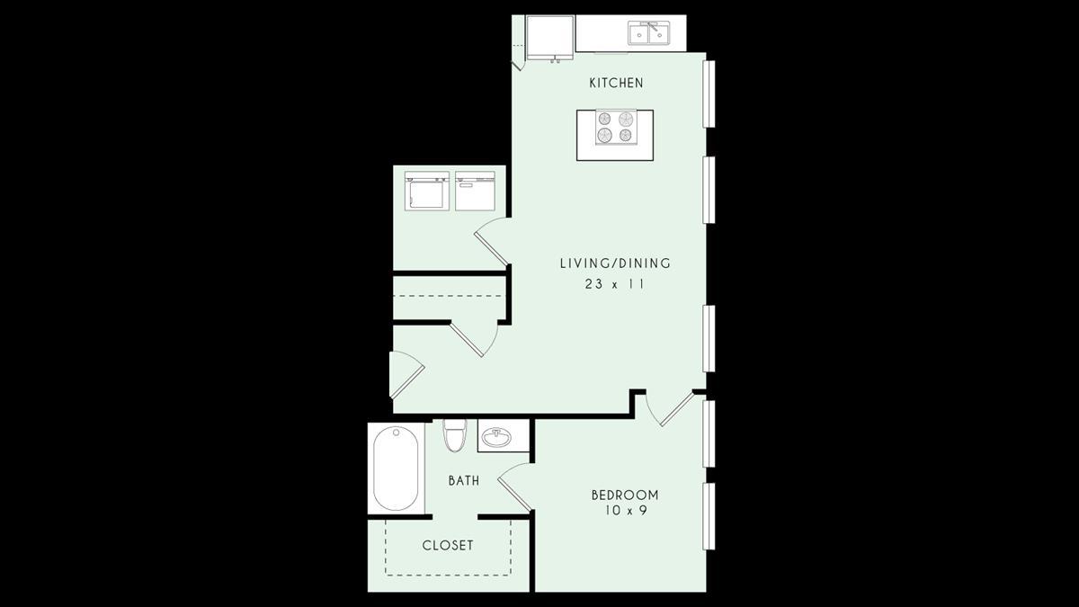 677 sq. ft. floor plan