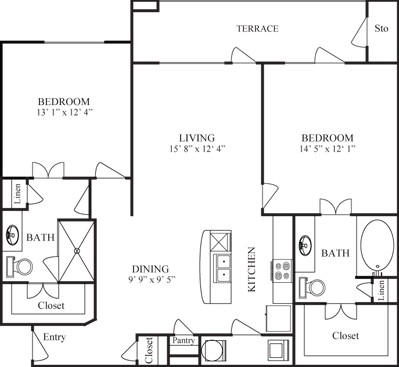 1,167 sq. ft. DE LEON floor plan
