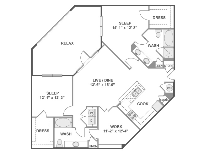 1,355 sq. ft. C7 floor plan