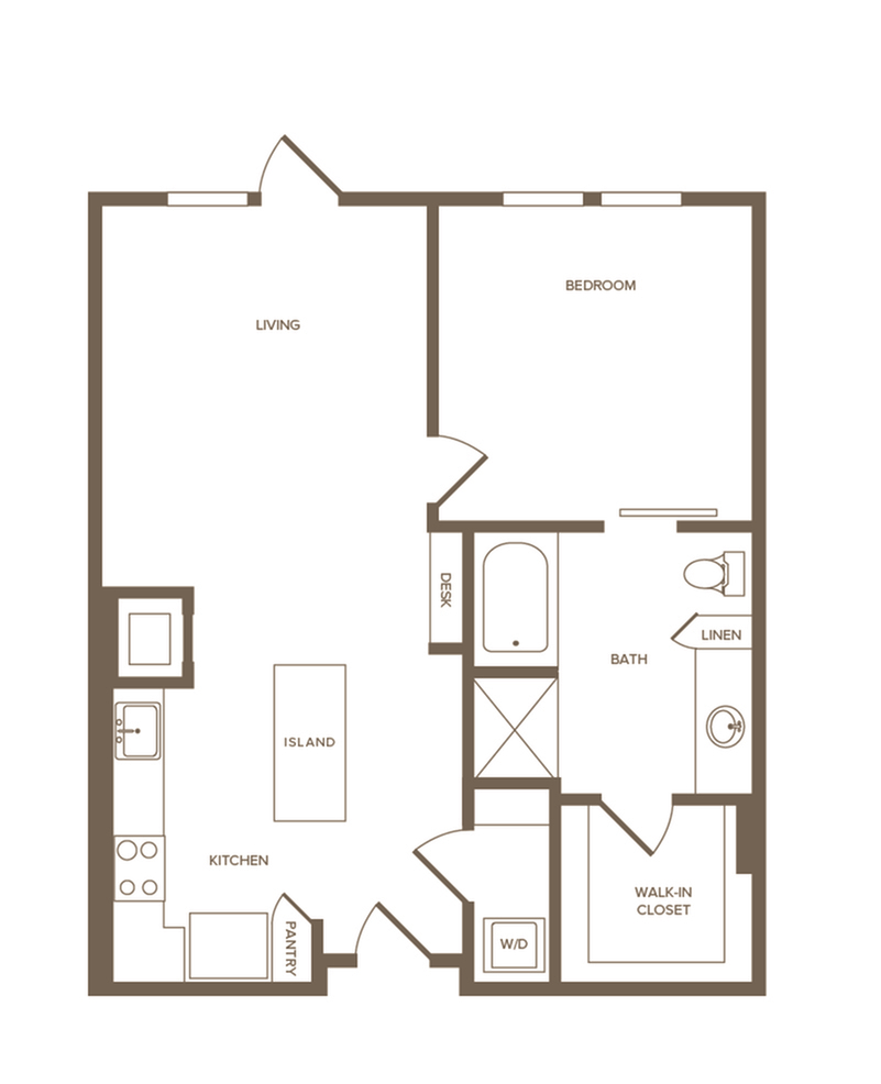 819 sq. ft. A6 floor plan