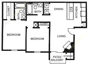 888 sq. ft. B3 floor plan