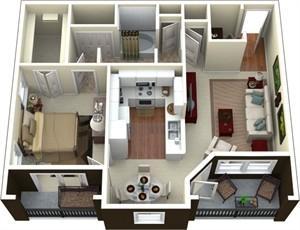 811 sq. ft. to 868 sq. ft. C1/C3 floor plan