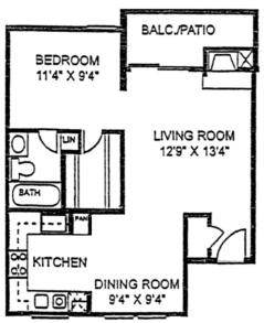 600 sq. ft. A0 floor plan