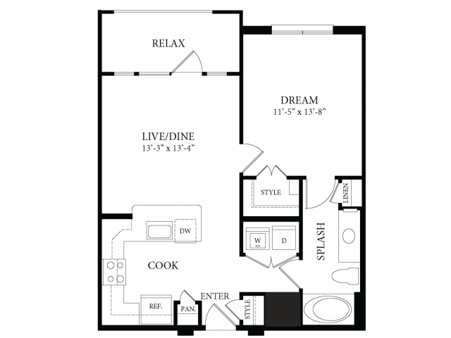699 sq. ft. Kimbell floor plan