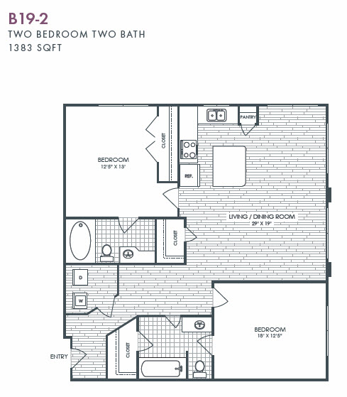 1,383 sq. ft. B19-2 floor plan